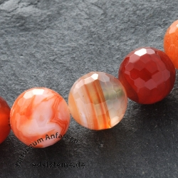 Carnilian Gemstone-Beads Round Faceted 12mm