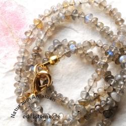 Linsenkette aus Labradorit Perlen kleine Labradoritkette