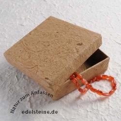 Bananenpapier Schmuckbox braun 10x10x3 cm Schmuckschachtel