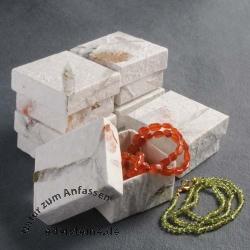 klein handgeschöpft weiß Schmuckbox ca 5x5 cm 6 Stück