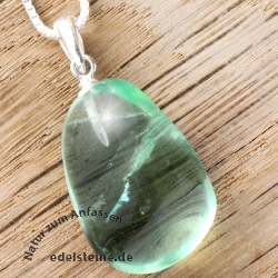 Green Fluorite Pendant with Silver Loop 925