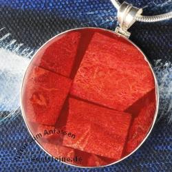 Koralle-Patchwork als runde Scheibe