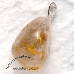 Rutile Quartz Pendant with Silver Loop 925