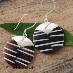 Zebra-Shell ear pendant with silver 5