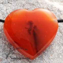 Carneol (Karneol) Anhänger Herz Flat BIG Karneolherz 28-30mm