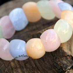 Armband  Chalcedon China Jade Calcit Rosenquarz Beatle 22x18mm