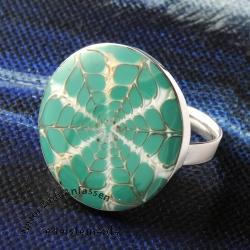 Grüner Spider Taler Ring Silber 925 Ringschiene mit Muschel Harz Füllung