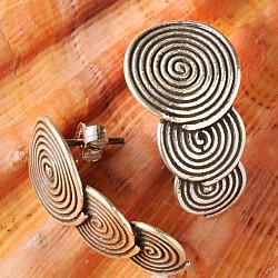 Silber Ohrstecker drei Spiralen