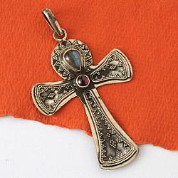 Silber Anhänger Kreuz mit Edelsteinen
