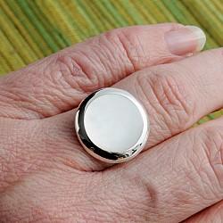Silberring Perlmutt Weiß 925 20mm Fassung verstellbare Größe