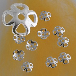 Bead Caps Clover Leaf Silver Sterlingsilver Findings