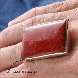 Rectangle Coral Ring Big