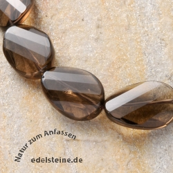 Gemstone-Beads Smoky Quartz Flat Olive Facetted