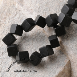 Black Obsidian Frosted Cube Corner Drilled