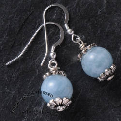 Earhooks with Aquamarine