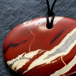 Red Jasper Oval Disc Pendant BIG