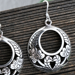 Silver Earrings Moonflower
