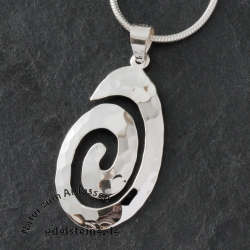 Silver Pendant Hammered SPIRAL