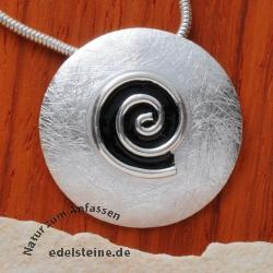 Silver Pendant black spiral