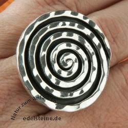Silverring Black Spiral Size 52