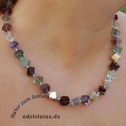 Halskette Fluorit Würfel