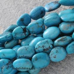 Türkis Perlen Flache Olive 14mm