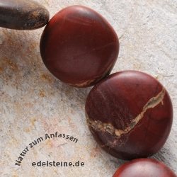 Gemstone-Beads Red Jasper Disc Tumbled 30x20x10mm