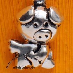 Schweinchen Glück Silber 925 Anhänger