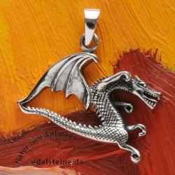 Silver Pendant Angry Dragon
