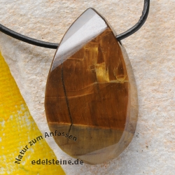 Tiger eye Gold Pendant faceted