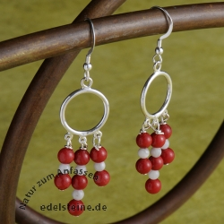 Coral Earrings Red White