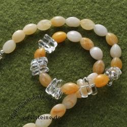Designerketten Orangencalcit Bergkristall