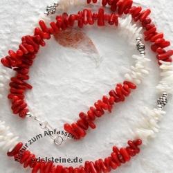 Halskette Koralle Rot / Weiß mit Silberverschluss Silber925