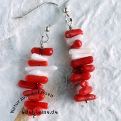 Ear pendant coral red / white