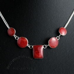 Coral silver necklace passion