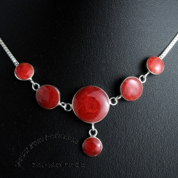 Coral silver necklace fiery love