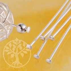 Head Pin Basic 50mm Sterlingsilver Headpin
