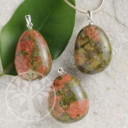 Unakite pendant with loop 3 pieces