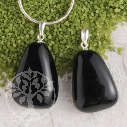Tektite pendant with loop 925 flat 3 pieces