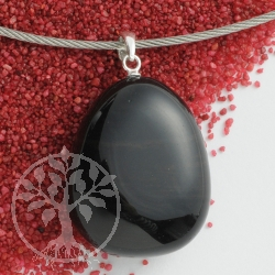 Obsidian pendant with loop 925