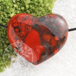 Brekzien Jaspis Stein Herz Anhänger Belly BIG