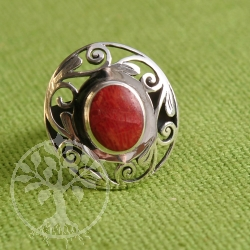Red Coral Ring silver gotic style