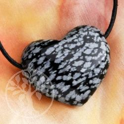 Schneeflocken Obsidian Edelsteinherz Anhänger Belly