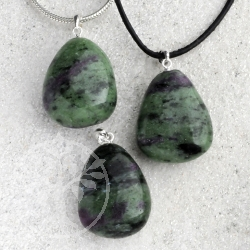 Ruby Zoisite Pendant with silver loop 3 pieces