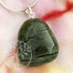 Nephrite Jade Gem Pendant with silver loop 925