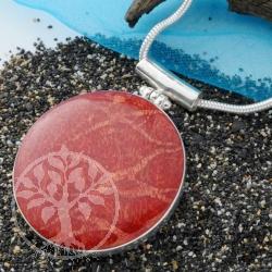 Koralle Silberanhänger rund
