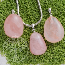 Rose Quartz drop with silver loop 925