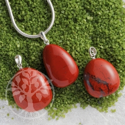 Red Jaspser pendant with loop sterlingsilver 3 pieces