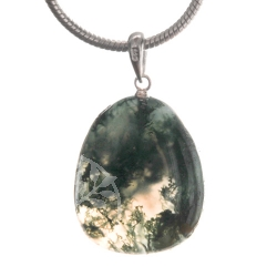 Moos Agate pendant with loop Silver 925