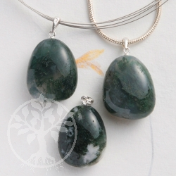 Moos Agate pendant with loop 3 pieces
